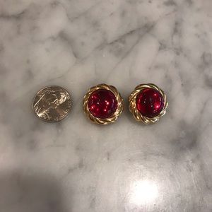 Vintage KJL Red Gold Braided Round Clip On Earring